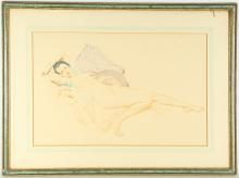 A 1950's caran d'ache drawing on paper, mid-20th Century, female reclining nude, unsigned, together with another by the same hand, 65 x 86cm including frame (2)