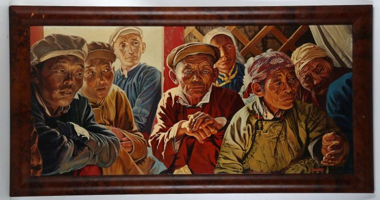 CHRIS BAKER (BRITISH 20th CENTURY), 'Mongolian Meeting', contemporary oil on canvas laid to board, signed (47cm x 90cm incl. frame).   (MAY BE SUBJECT TO ARTIST'S RESALE RIGHTS)