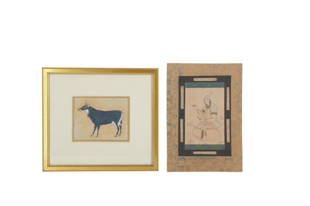 TWO INDO-PERSIAN REVIVAL TINTED DRAWINGS: A SEATED YOUTH AND A NILGAI ANTELOPE