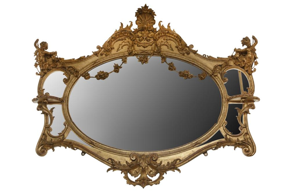 A 19TH CENTURY GILTWOOD OVERMANTEL MIRROR