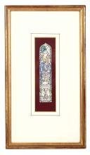 SIDNEY HAROLD METEYARD RBSA (1868-1947).   'St Cecilia'. Design for a stained glass window.  watercolour.  19.5cm x 5.5cm.  mounted and framed,  Provenance: From the artist's family