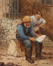 NEWLYN SCHOOL, CIRCLE OF WALTER LANGLEY (1852-1922).  Fisherman reading a letter to his daughter outside a stone cottage,  watercolour,  38.7cm x 31.5cm,  gilt moulded frame, with old label attached to the backboard. 'J.& W. Vokins, London'