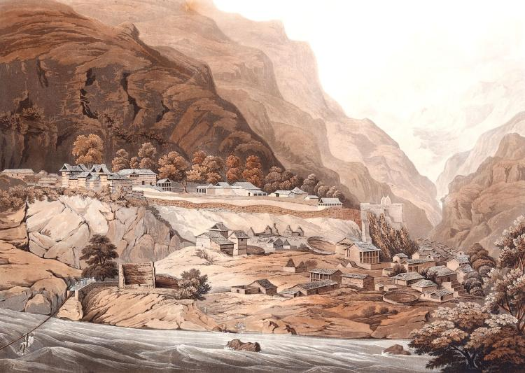 JAMES BAILLIE FRASER (1783-1856).  'The Town of Rampore' and 'House of Rana of Cote Gooroo'.  Fine pair of colour aquatints from 'View in the Himalaya Mountains'.  Engraved by R. Havell.  46.5cm x 60cm.  Mounted.  (2).