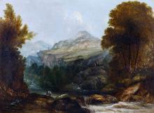 JAMES LEVIN HENRY (1855-1929) Landscape with river and figures Oil on Board 30cm x 40cm Gilt Frame