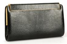 ASPREY NAVY LIZARD CLUTCH, on gilt metal frame with lift up hinged clasp, 20cm wide, 12cm high