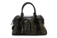 BURBERRY PRORSUM COLLECTION KNIGHT BAG, black studded leather with two zipped compartments, gunmetal hardware and studs, 45cm wide, 25cm high