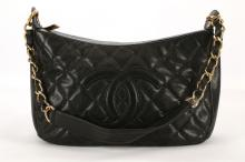CHANEL BLACK HOBO BAG, date code for 2004/05, black quilted caviar leather with gilt tone hardware, 27cm wide, 18cm high (some repairs)