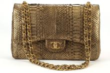 CHANEL GILT PYTHON JUMBO DOUBLE FLAP BAG, date code for 2011, with gilt metal hardware, 30cm wide, 21cm high, with dust bag and box, and copy of CITES licence