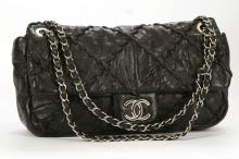 CHANEL ULTRA STITCH FLAP HANDBAG, date code for 2009/10, black distressed lambskin with stitched quilted pattern, silver tone hardware, red lined interior, with authenticity sticker, card, and dust bag, 30cm wide, 18cm high