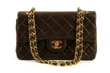 CHANEL BROWN SMALL CLASSIC FLAP HANDBAG, dark brown quilted calfskin, gilt tone hardware, date code indistinct, 23.5cm wide, 15cm high, with authenticity card