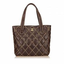 CHANEL SURPIQUE TOTE HANDBAG, date code for 2003-04, dark brown leather with Surpique stitching, 24cm wide, 22cm high