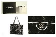 CHANEL SEQUIN EVENING BAG, date code for 1997-1999, black and white sequin trompe l'oeil classic flap bag effect, 23cm wide, 17cm high, with dust bag and box