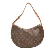 LOUIS VUITTON CROISSANT MM, monogram canvas with tan leather trim, 30cm wide, 20cm high