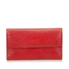 LOUIS VUITTON RED EPI LEATHER PORTE TRESOR INTERNATIONAL WALLET, date code for 1993, 19cm wide, 10cm high