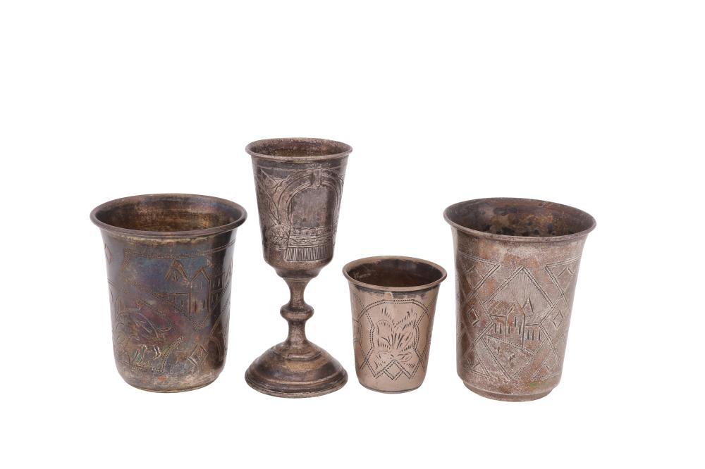 A mixed group of Russian 84 zolotnik (875 standard) silver items