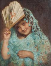 Sophie Anderson (1825-1914)/Spanish Girl/signed lower right/oil on canvas, 28cm x 23cm/see illustration