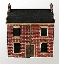 A Victorian wooden dolls' house, circa 1860, with