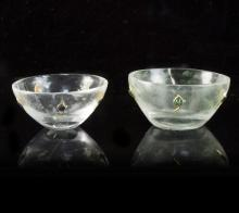 A near pair of Mughal rock crystal bowls, each with five gem set petals to the exterior, the larger 52mm diameter