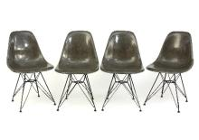 Charles and Ray Eames for Herman Miller, four DSR chairs in grey, each with moulded seat on Eiffel Tower metal frame, each with a label for Herman Miller to underside