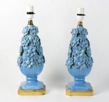 Casa Pupo/a pair of turquoise ceramic lamp bases, 41cm high including fitting