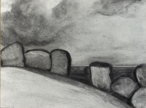 Frances Cohen (1939-1998)/Mountain Landscape with Rocks/signed and dated '75/charcoal, 37cm x 49cm