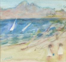 Jane Soeder (British, born 1934)/Beach Scene/pastel, signed 15cm x 15cm