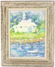 Helen Bowen (American 20th Century)/River Landscape/monogrammed/oil on canvas, 60cm x 45cm