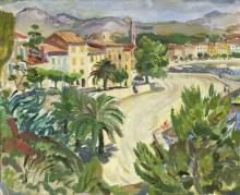 Alexander Sillars Burns (Scottish 1911-1987)/Siesta Time, Sanary-sur-Mer/oil on board, 50cm x 59cm