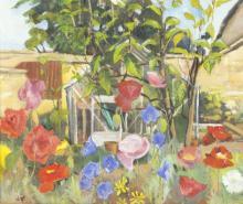 Joyce Williams/In the Garden/initialled/oil on board, 57cm x 68cm