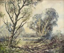 Leslie Cole (1910-1976)/Woodland Landscape/signed/oil on board, 54cm x 65cm