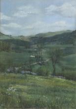 Mercedes Piedrahita Uribe/Landscape/signed/pastel, 40cm x 25.5cm