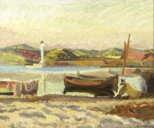 Duncan Grant (British 1885-1978)/Coastal Landscape with Figure and Boat/signed and dated 1927/oil on board, 39cm x 47cm/Provenance: Newman's and Exhibition label verso, catalogue no. 263