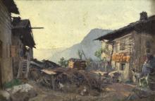 20th Century Austrian School/Farmstead/indistinctly signed verso/oil on board, 14cm x 22cm