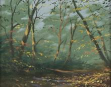 George Horne/Woodland Landscapes/a pair/oil on board, 18cm x 24cm