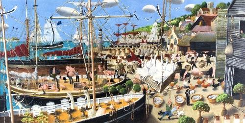Richard Adams (British, born 1960)/Departure of the Pilgrim Fathers/oil on board, 45cm x 91cm