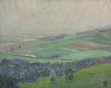 Elizabeth Olds (American 1896-1991)/Landscape/monogrammed and dated 1917/oil on canvas, 39cm x 50cm