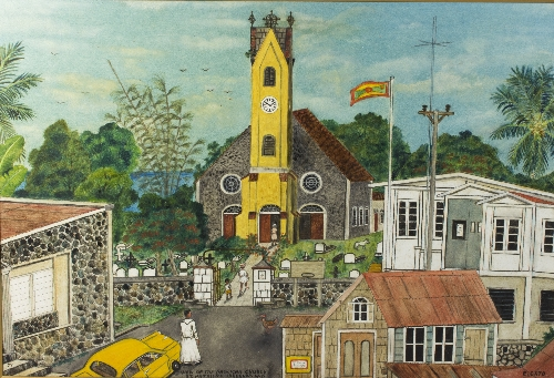 Elinus Cato (West Indian, 1933-2004)/View of the Anglican Church, St Patricks, Grenada WI/signed, inscribed and dated '77/oil on board, 59cm x 87cm