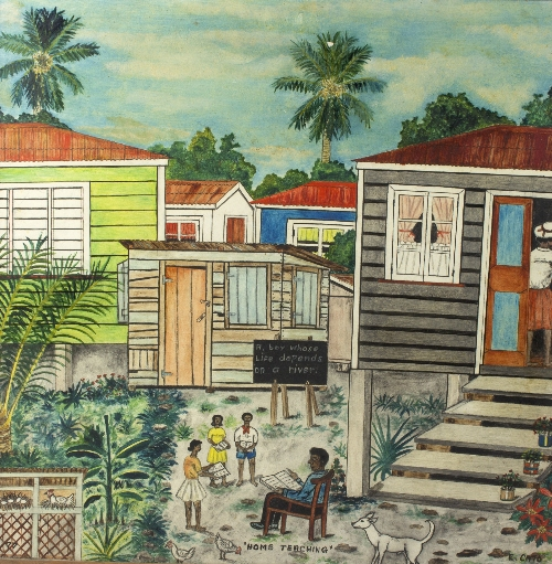 Elinus Cato (West Indian, 1933-2004)/Home Teaching/signed, inscribed and dated '77/oil on board, 60cm x 60cm
