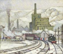 Harold Dearden (British 1888-1962)/Industrial Landscape/train in the foreground/oil on canvas, 29cm x 34cm