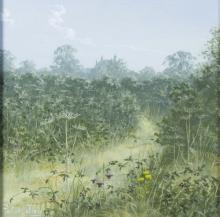 Peter Jay (British, born 1936)/Meadow Path/signed/oil on board, 19cm x 19cm