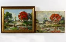 B Majumdar/River Landscape with Figures/a pair/signed/oil on canvas, 29.5cm x 39.5cm
