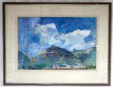 Thomas Denny (British, born 1956)/Gubbio/signed, inscribed and dated September '78/mixed media on paper, 36cm x 53cm
