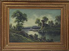W G Becker/Castle by a Lake/oil on canvas, 50cm x