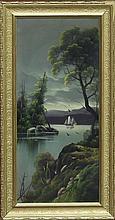 W G Becker/Boat on a Lake/oil on board, 55cm x