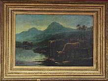 W G Becker/Highland Cattle/oil on canvas, 50cm x