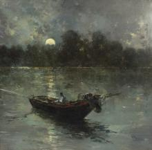 Salvador Sanchez Barbudo (Spanish 1857-1917)/Fishermen on a Boat in Moonlight/signed lower right/oil on canvas, 97cm x 79cm/