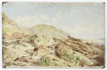 James Hayllar/Study of Rocks on the Shore, 'Equiher', France/signed and inscribed/oil on board, 29cm x 45.75cm