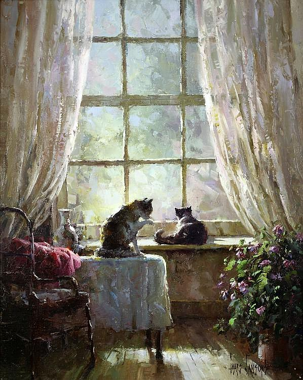 Ivars Jansons CATS ON A WINDOWSILL signed oil on