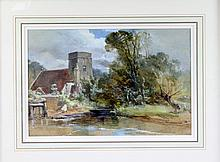 Charles Branwhite/Church viewed beyond a River with Punt/signed with initials/watercolour, 33.5cm x 51cm
