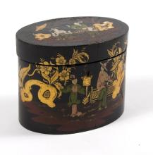 A 19th Century Japanese black and coloured lacquer oval tea caddy decorated figures on a terrace